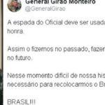 INTERVENÇÃO? General de reserva diz que Exército usará a 'espada' para defender a honra do Brasil