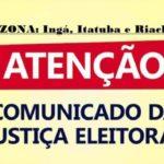 Justiça Eleitoral convoca 1.083 eleitores de Ingá, Itatuba e Riachão para refazer a biometria. Veja a lista