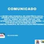 INGÁ: Secretaria de Ação Social abre inscrições para cursos de Fotografia e Marketing Digital