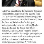 Prefeitura de João Pessoa aciona o STF contra decisões judiciais que autorizaram aulas presenciais e STF rejeita recursos