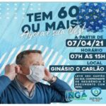 """Vacina para idosos com 60 anos ou mais, iniciará hoje nesta quarta-feira (07/03), a partir das 07h no Ginásio """"O Carlão""""."""